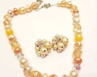 Peach Colored Vintage Necklace & Earring Set