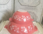 Vintage Pair of 2 Pink Gooseberry Pyrex Cinderella Bowls