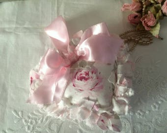Beautiful Petite Handmade Linen & Chenille Romantic Heart Pillow
