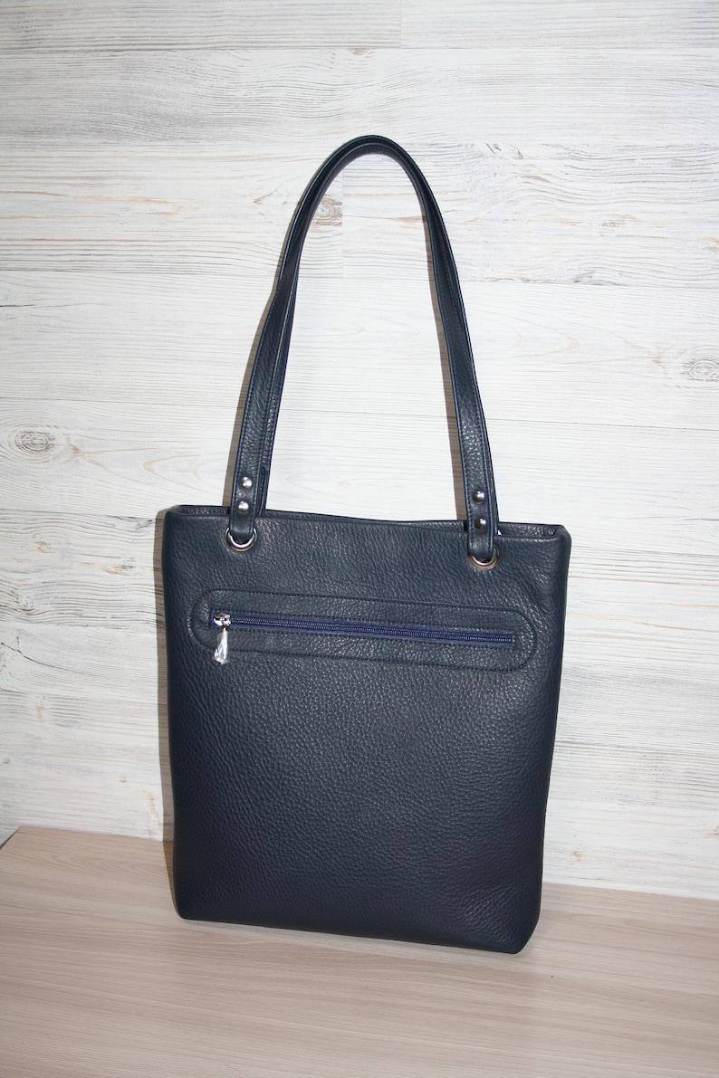 Leather tote bagLeather bag womenLeather Handbag for womenMariah Carey LambilyLeather HandbagBlue Leather Bagleather applique handbag