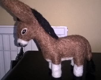 Little brown needle felted donkey loves to give nuzzles!
