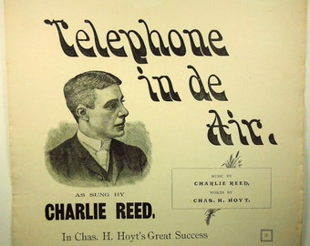 Telephone in de Air Rare Vintage Sheet Music 1887