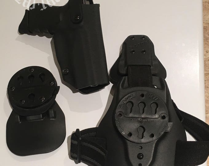 Excalibur: Law Enforcement Level II Right Handed Draw Drop Leg Tactical Holster with added G-Code paddle option (integrated G-Code RTI)