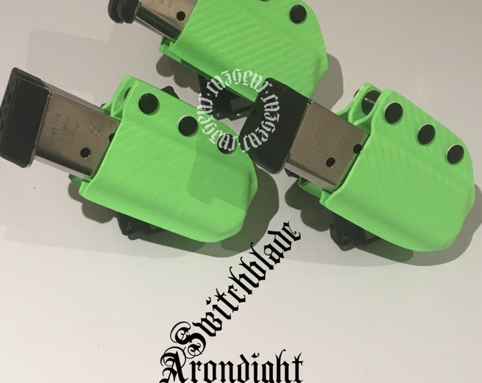 Triple Set of Double Arondight Switchblades for 1911 / .40 / 9mm Single Stack Horizontal or Vertical Mag Carrier in Zombie Green