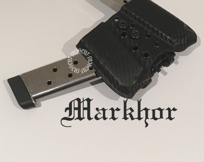 Markhor Double Arondight Switchblade for 1911 in Carbon Fiber Holstex (angled) (left side carry)