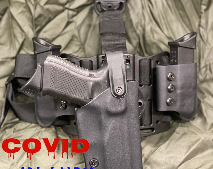 COVID BLUES: Right Handed Drop Leg Tactical Thumbrake Holster (G-Code RTI) / dual universal break away mag pouches / with Molle Chest Plate
