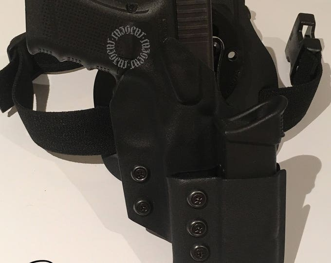 Excalibur: Right Handed Draw Drop Leg Tactical Holster (with G-Code RTI mounting system) with attaxhed CazGear Switchblade II.