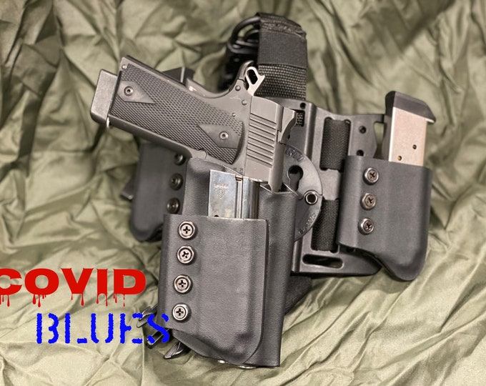 COVID BLUES: Right Handed Drop Leg Tactical 1911 Holster (G-Code RTI) with triple break away mag pouches and molle chest plate