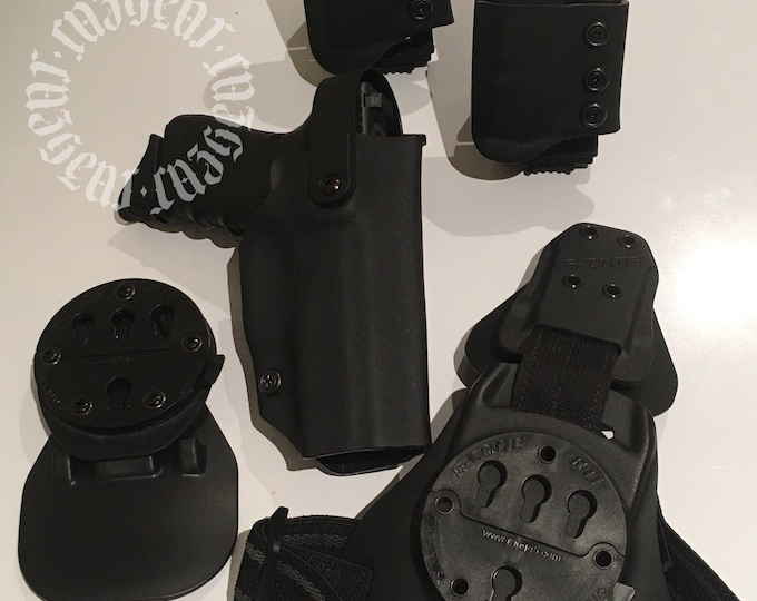 Excalibur: Extreme Law Enforcement Level II Right Handed Draw Drop Leg Tactical Holster with added G-Code paddle + 2 x Switchblade IIs