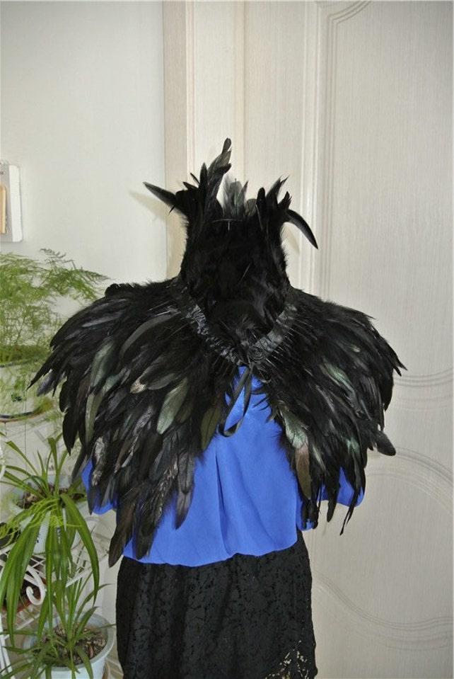 negro pluma cabo Etsy chaqueta plumas Plumas cabo chal pluma gallo awvppd