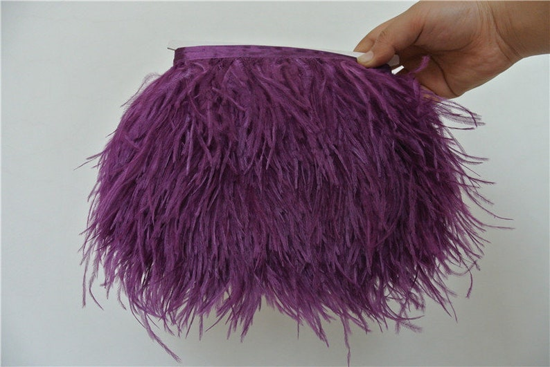 10 Yardslot Dark Purple Ostrich Feather Trimming Fringe On Etsy