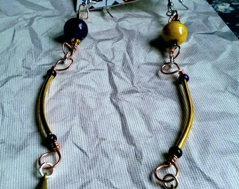 Extra Long Purple Indian Glass Beaded Earrings, wire wrap, Duster Earrings, Steampunk Style Jewelry, raw fashion jewellery, Gypsy Accessory