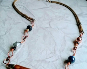 Beaded Copper Tube Necklace, raw minimalist steampunk style jewelry, Upcycled Assemblage fashion, 20-21 inch adjustable, Gypsy Accessory