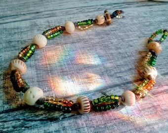 Seed & Bone Beaded Anklet, Wax Linen Anklet, Tribal Style Anklet, Natural Earthy Jewelry, earth tone Gypsy Accessory, handmade fashion
