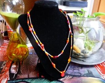 Bead Necklace, Hand Beaded Double Strand Red Random Style Jewelry, Warm Tone Stone Pendant, Handmade Fashion Jewellery, Gypsy Accessory