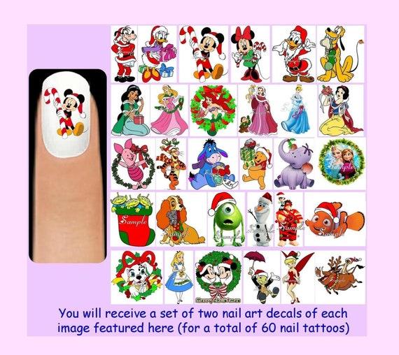 60 X Disney Christmas Nail Art Decals Free Rhinestones Etsy