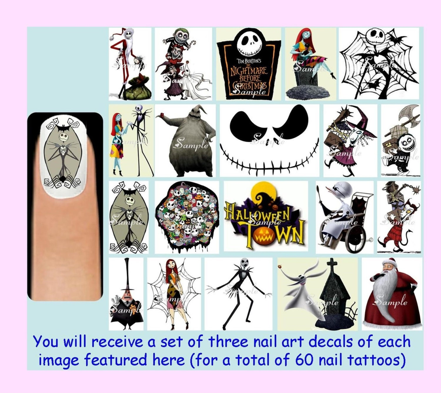 60 x The NIGHTMARE BEFORE CHRISTMAS Nail Art Decals Free | Etsy