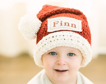 Monogrammed Crochet Santa Hat | Custom Santa Hat for Babies | Monogram Christmas Beanie  | Custom Santa Hat | Baby's First Christmas Gift