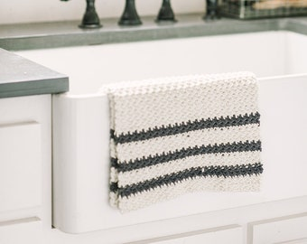 Grain Sack Dish Towel | Handmade Crochet Dish Towel | Farmhouse Dish Towel | Handmade Farmhouse Kitchen Towel | Handmade Hostess Gift Idea