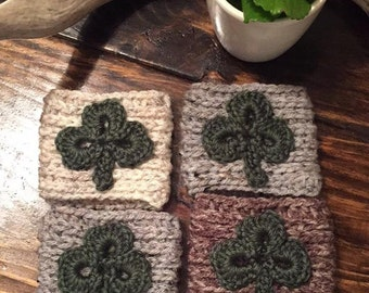 Shamrock Crochet Coffee Sleeve   Trendy Clover Reusable Coffee Jacket   St.  Patrick s Day Beverage Insulator 362f5c79e3dd8