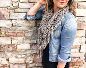 The Grace Scarf   Soft Spring Scarf   Open Weave Crochet Scarf With Fringe   Mother's Day Gift   Crochet Wrap   Lightweight Spring Wrap  