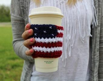 Americana Crochet Coffee Sleeve / Trendy Reusable Coffee Jacket / Crochet Flag Beverage Insulator