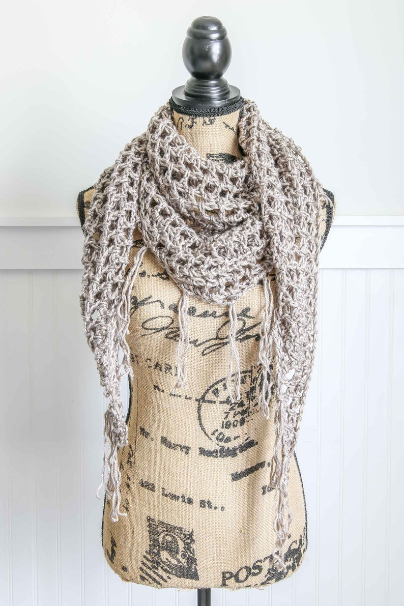 The Grace Scarf  Soft Fall Scarf  Open Weave Crochet Scarf image 0