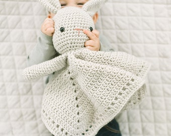 Bunny Crochet Lovey | Baby Shower Blanket Gift | Baby Keepsake Lovey | Newborn Blanket  | Baby Security Blanket | Baby Monthly Milestone Toy