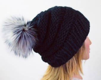 Knit Pom Beanie | READY TO SHIP | Slouchy Beanie | Womens Beanie