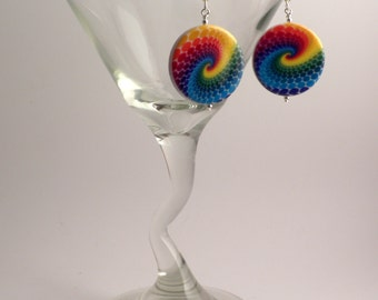 Large rainbow swirled disc earrings, silver accents