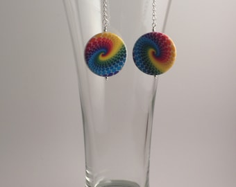 Large rainbow swirled dangly disc earrings, silver accents