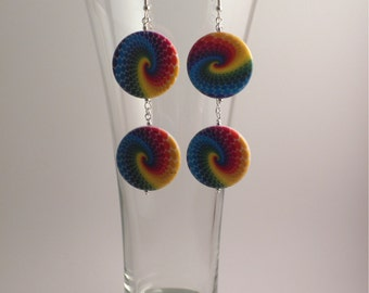 Large double-row rainbow swirled dangly disc earrings, silver accents