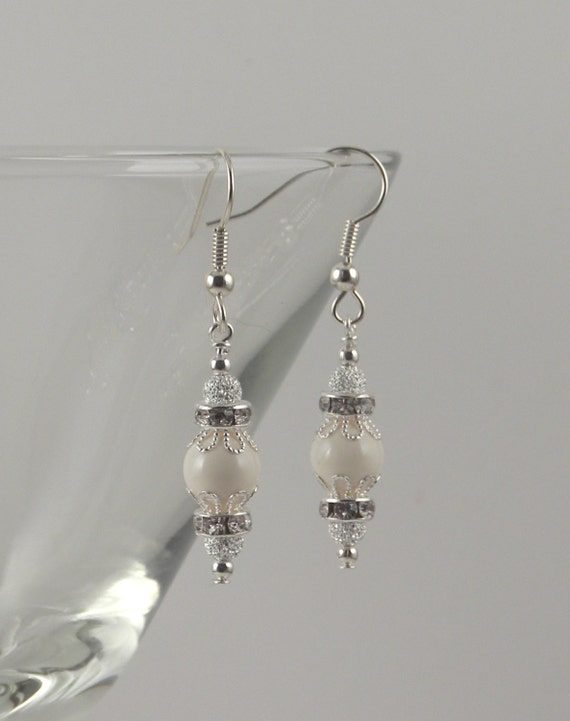 Ivory Swarovski and stardust holiday ornament earrings silver  6cd12e201
