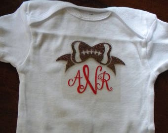Onesie football bow with initials  ALL sizes....