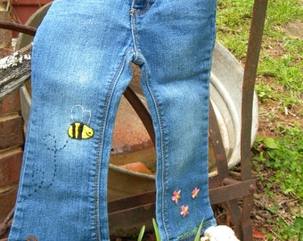 Toddler/Infant Jeans Hand Embroidered 24MONTH Upcycled Jeans