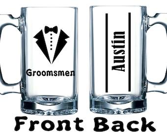 Groom - Groomsmen -Best Man Custom large beer mugs - Wedding party gifts - Custom wedding