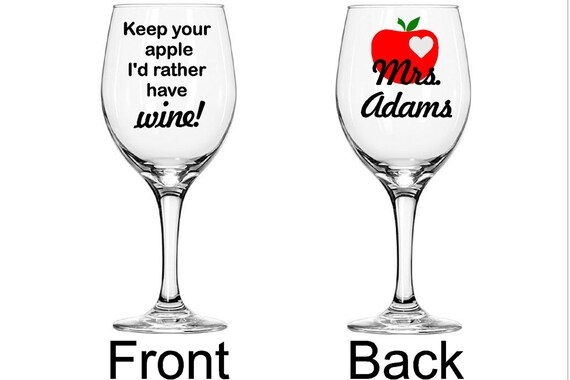 6 X If Teachers Were Apples I'd Pick You Teacher Vinyl Wine Glass Decal