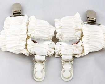Pair of Double Ruffle Detachable Silk Covered Suspenders - Ivory and Silver
