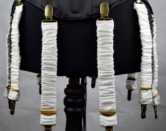 Detachable Silk Covered Suspenders - Ivory and Gold (Set of 10)