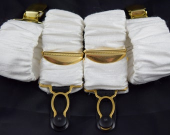 Pair of Detachable Silk Covered Suspenders - White and gold