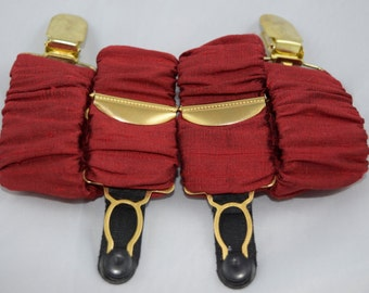 Pair of Detachable Silk Covered Suspenders - Crimson and Gold