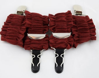 Pair of Double Ruffle Detachable Silk Covered Suspenders - Red and Silver