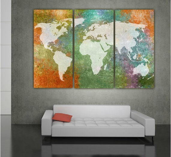 World Map Multi Color Canvas Wall Art - Large wall art canvas map, world  map art, world map, world map canvas, wall art, large art, canvas