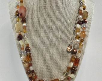 Extra Long Semi Precious Stones and Freshwater Pearl Necklace