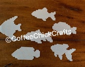 Set of 6 Plastic Canvas Fish Cut Outs Plastic Canvas Fish for Needlepoint Goldfish