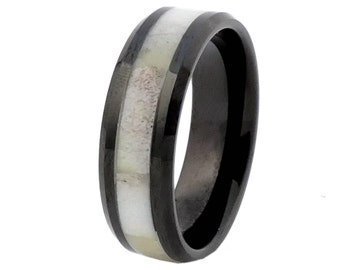 Black Tungsten with Antler Inlay Antler Ring  Size 9  Free Shipping