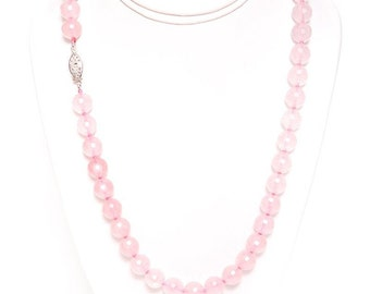 """Faceted Rose Quartz Necklace 17"""" Long with 925 Sterling Silver Clasp"""