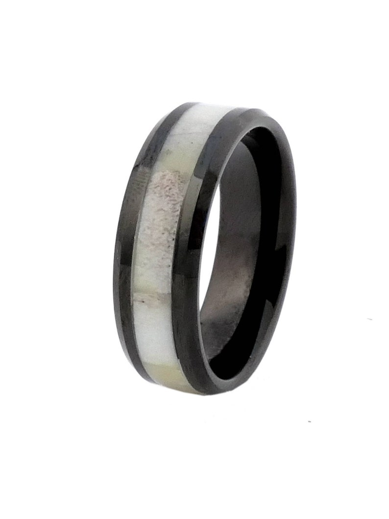 Black Tungsten with Antler Inlay Antler Ring  Size 9  Free image 0