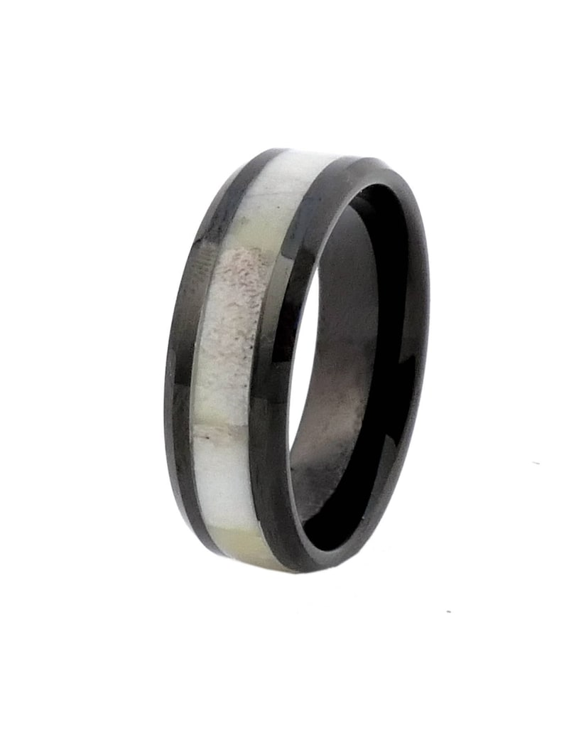 Black Tungsten with Antler Inlay Antler Ring  Size 13  Free image 0