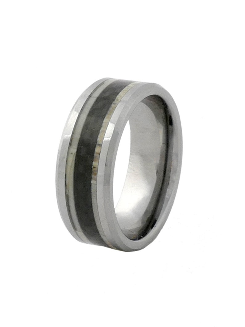 Mens Deer Antler Ring with Carbon Fiber Inlay in Tungsten image 0